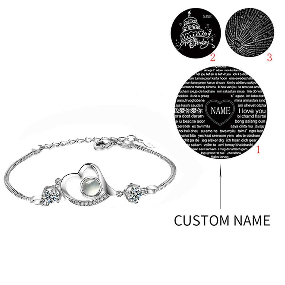 Personalized 925 Sterling Silver Women Love Heart Projection Bracelet or Anklet Jewelry,Nano Technology Memory Projection Say I Love You in 100 Languages Bracelet-Any Name
