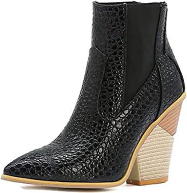Details about  /New Women Chelsea College Pull On Round Toe Block Low Heel Ankle Boots Outdoor D