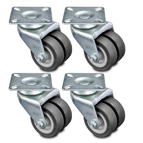 nirox 4X Ruedas para Muebles 50mm - Ruedas giratorias para Cargas Pesadas - Ruedas industriales Altura Total 75mm - Ruedas pivotantes hasta 400kg