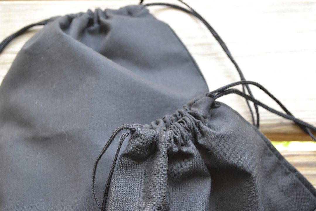 5 x 7 inches Cotton Double Drawstring Muslin Bag. Black Color (100) by BigLotBags (Image #2)
