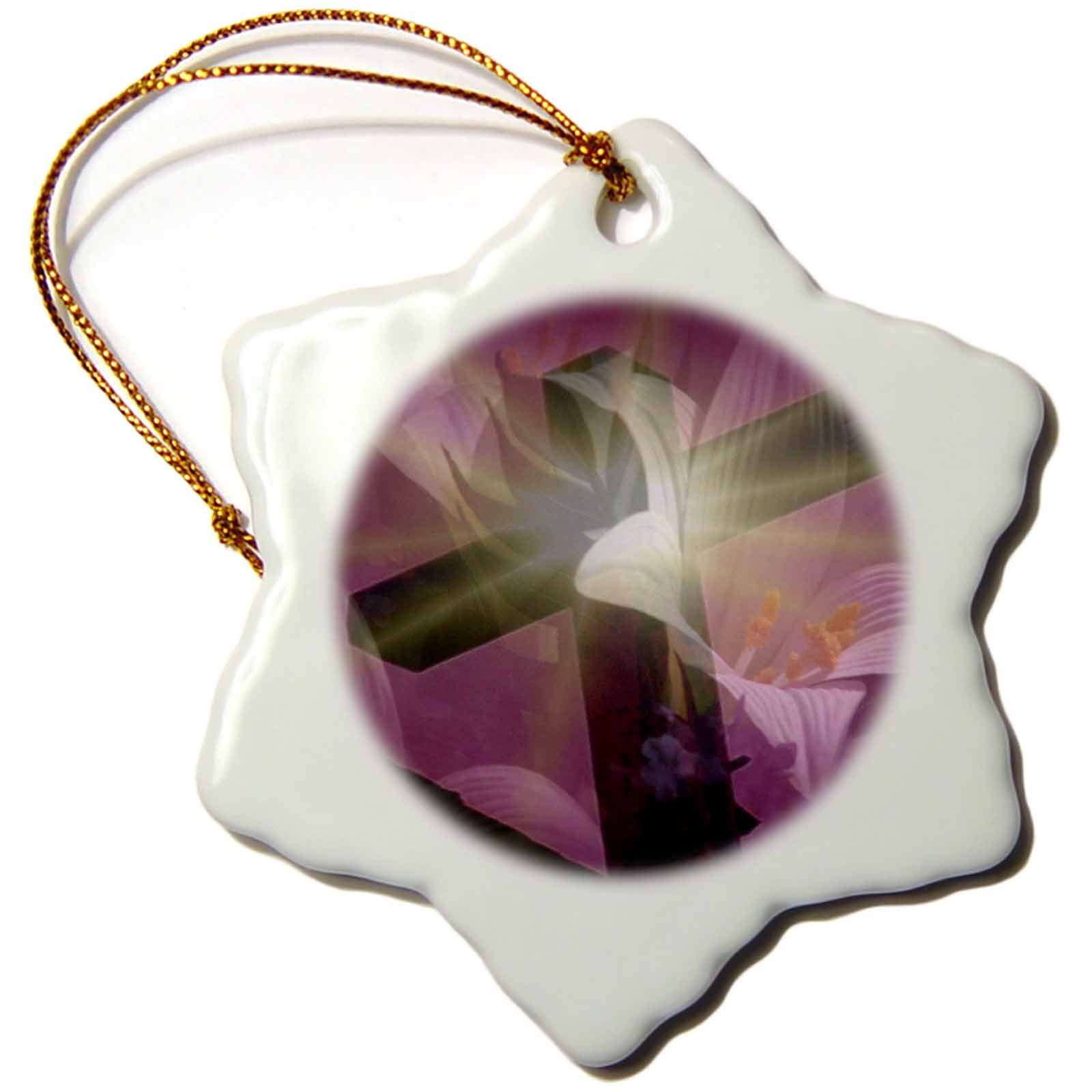 3dRose orn_42952_1 Christian Cross and Lily Snowflake Porcelain Ornament, 3-Inch