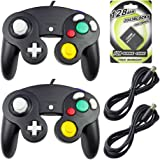 AreMe 2 Packs Game Cube Controllers with 2 Extension Cables and 128mb Memory Card for Nintendo Wii Gamecube GC Console(Black)
