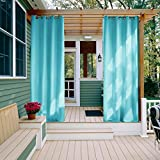 Gazebo Curtains Outdoor Curtains Panels for front Porch - Nicetown Three Pass Microfiber Thermal Insulated Ring Top Blackout Outdoor Indoor Window Curtains / Drapes (1 Panel,52 x 95 Inch, Turquoise Blue)