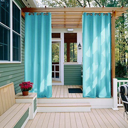 Outdoor Curtain Panel for front Porch - NICETOWN Three Pass Microfiber Thermal Insulated Ring Top Blackout Outdoor Indoor Window Curtain / Drape (1 Panel,52 x 95 Inch, Turquoise Blue) (Blue Shade Toile)