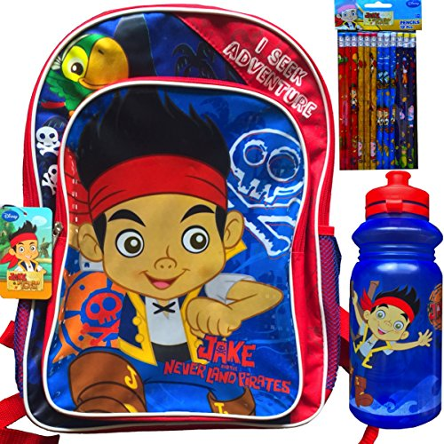 Jake and the Neverland Pirates Children's Backpack with Jake and the Neverland Water Bottle and Pencils School Supplies Gift -