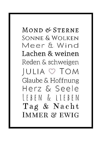 Jahrestag.Personalisiertes Bild Liebe Geschenk Zum Jahrestag Verlobung Hochzeit