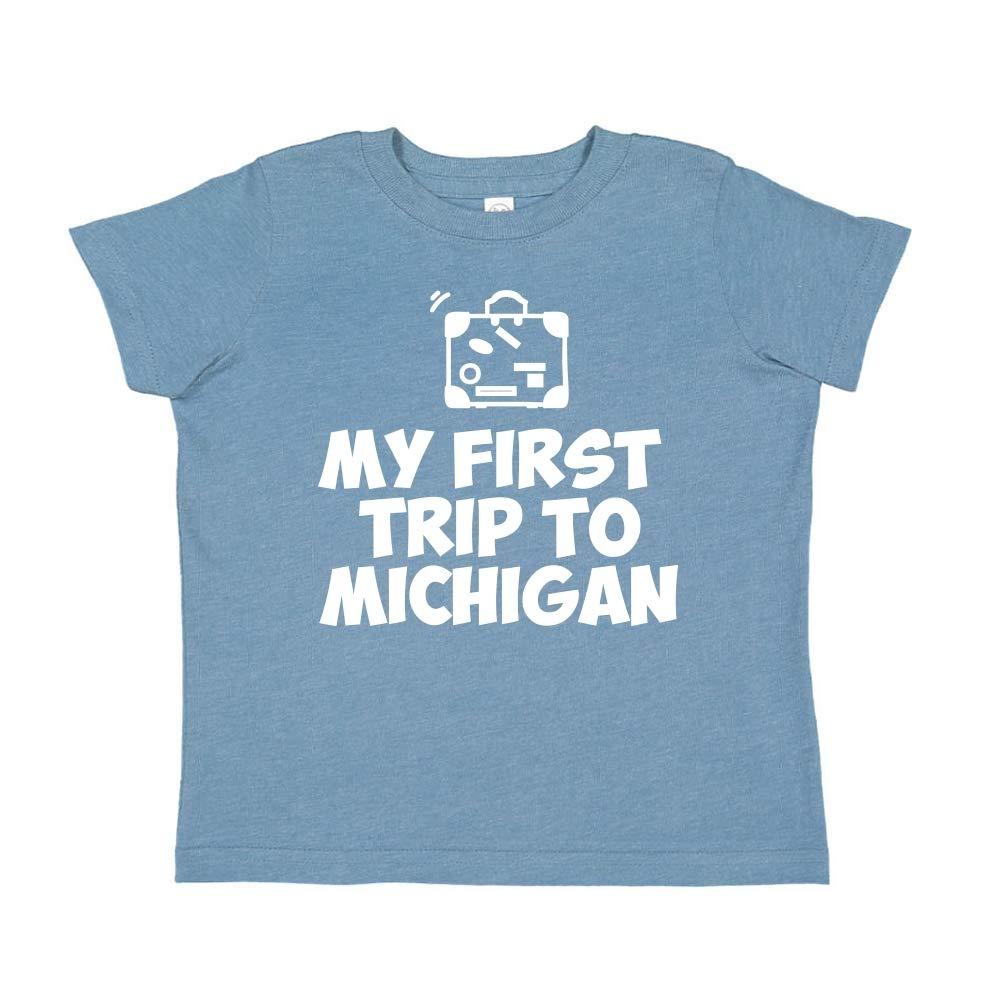 Toddler//Kids Short Sleeve T-Shirt Mashed Clothing My First Trip to Michigan