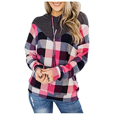 Sttech1 Women's Color Block Patchwork Hooded Pullover Long Sleeves Hoodie Sweatshirt Tunic Tops: Clothing