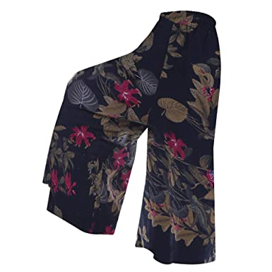 Xinantime Plus Size Trousers Casual Floral Print Flared Bell ...