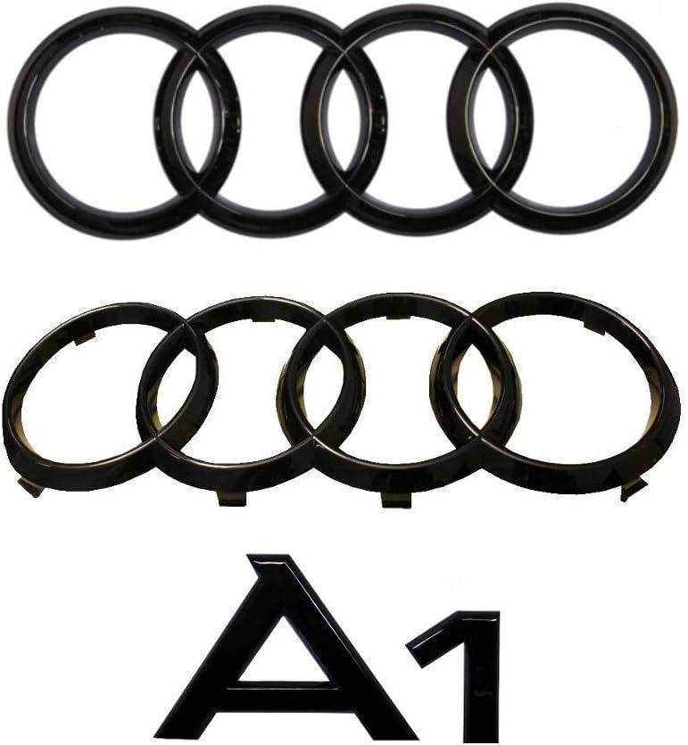 Set Audi A1 Ringe Schriftzug Emblem Vorne Hinten Schwarz Glänzend Auto