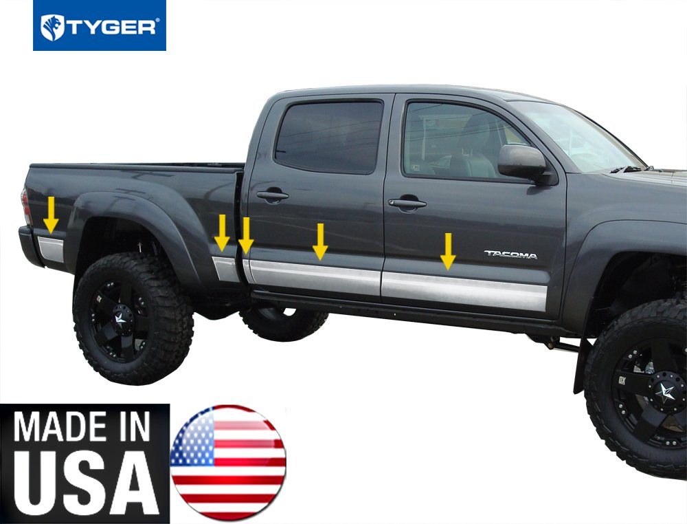Works with 2005-2015 Toyota Tacoma Double Cab 6 Bed Rocker Panel Trim 5.5 Wide 10PC Tyger Auto Made in USA