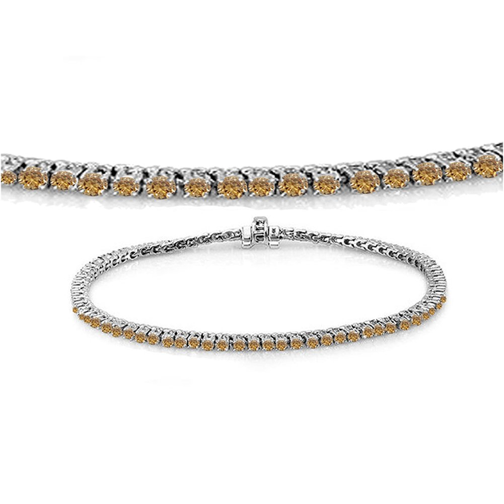 1.50 Carat (ctw) 14K White Gold Round Cut Real Champagne Diamond Ladies Tennis Bracelet 1 1/2 CT by DazzlingRock Collection
