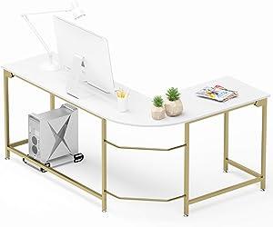 Teraves Modern L-Shaped Desk Corner Computer Desk Home Office Study Workstation Wood & Steel PC Laptop Gaming Table(Large, White)