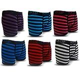 6 Pack Mens Stripe Kato Designer Boxer Shorts Trunks Comfort Fit