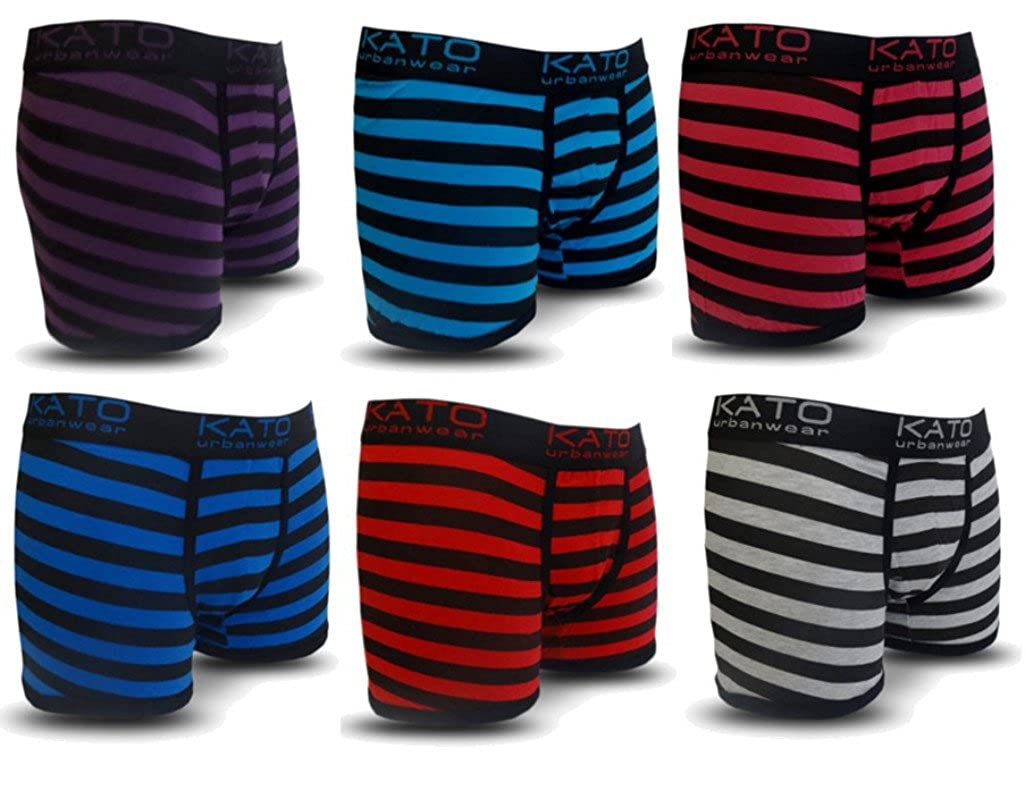 6 Pack Mens Stripe Kato Designer Boxer Shorts Trunks Comfort Fit