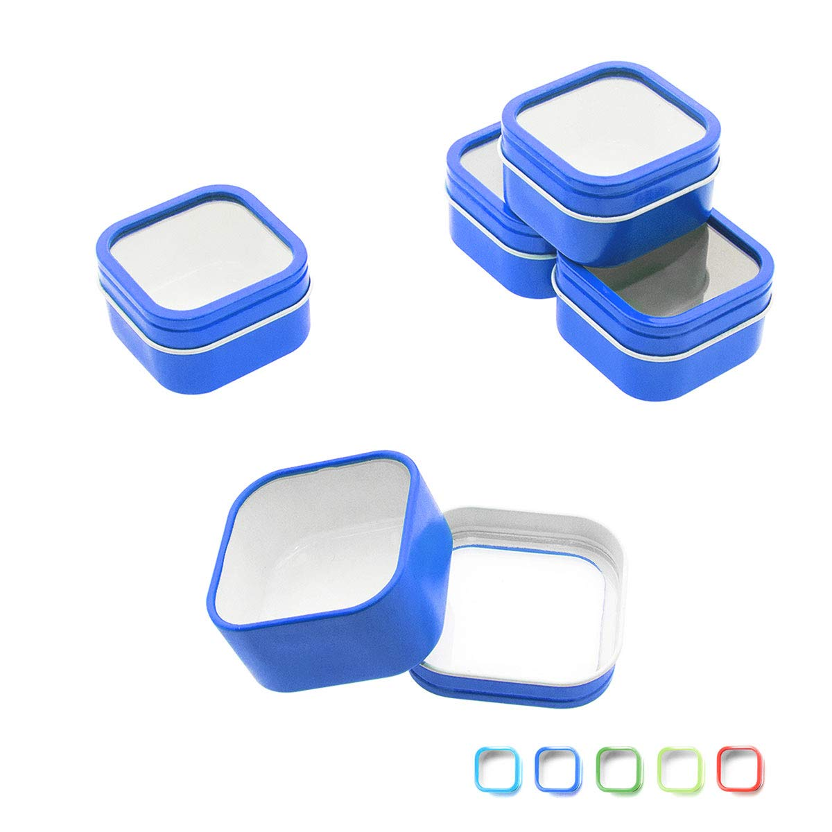 Mimi Pack 4 oz Square Cube Tin Cans with Clear Window Slip Cover Lid for Favors, Spices, Storage, Candies, Mints, Candles and Crafts (24, Blue)