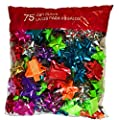 75-Count Christmas Holiday Shiny Metallic Multi-Colored Gift Bows for Presents, Decoration, Peel n' Stick