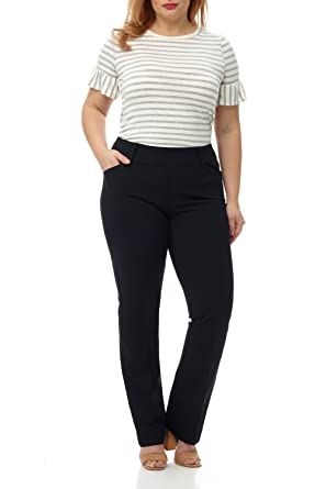 efa8e2e81ce0d Rekucci Curvy Woman Plus Size Pull-On Bootcut Pant in Ultimate 360 Degree  Stretch Cotton