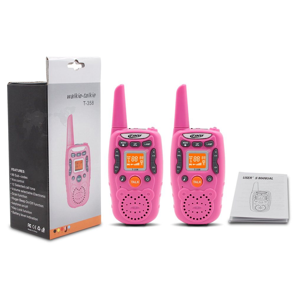 ENGPOW Walkie Talkies for Kids 22 Channels Two Way Radio 2 Mile Range Mini Walkie Talkies with Flashlight and LCD Screen Gifts for Kids (Pink, 2PCS) by ENGPOW (Image #8)