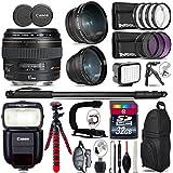 Canon EF 85mm f/1.8 USM Lens + Speedlite 430EX III-RT Flash + 0.43X Wide Angle Lens + 2.2x Telephoto Lens + LED Kit + Stabilizing Handle + UV-CPL-FLD Filters + Macro Filter - International Version
