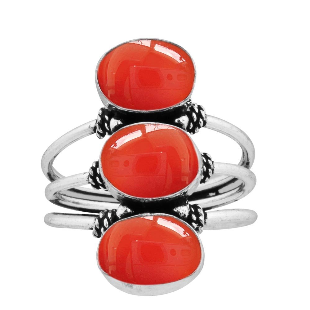 925 Silver Plated 9.80ct, Genuine Carnelian 8x10mm Oval Handmade Fashion Ring (Size7.5)
