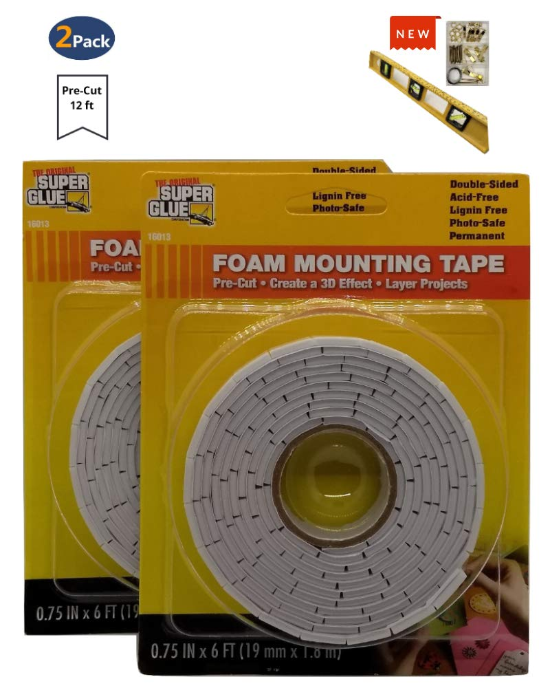 Original Super Glue Foam Tape | Great for Wall Mounting Mirrors, Frames, Pictures and Other Creative Projects, 0.75 in x 6 ft per roll, Comes with 3 Vial Level Ruler and 55 pct Hanging Mount Kit by The Original SuperGlue