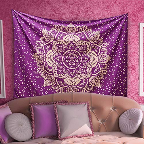 Hershine Mandala Tapestry Wall Hanging Bohemian Ombre Boho Hippie Indian Lotus Flower Psychedelic Ethnic Tapestries Bedding for Bedroom (Purple Gold)