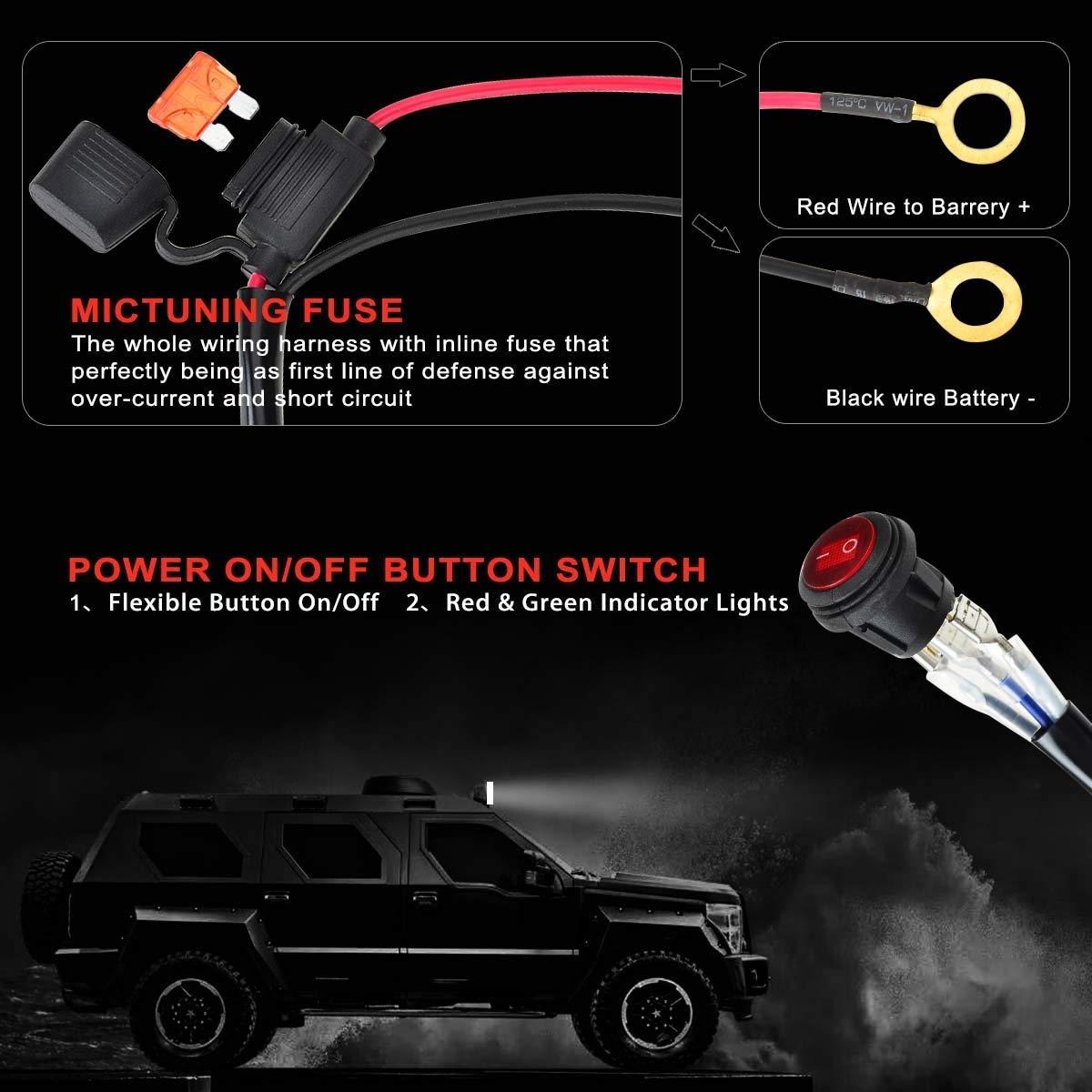 KAWELL 300W Barra LED Faro de Trabajo Arneses de cableado Faro Antiniebla Arn/és de Cableado 40A Rel/é Interruptor de Encendido//Apagado Impermeable para Honda Toyota Quad Todoterreno 1 Plomo 9 Pies