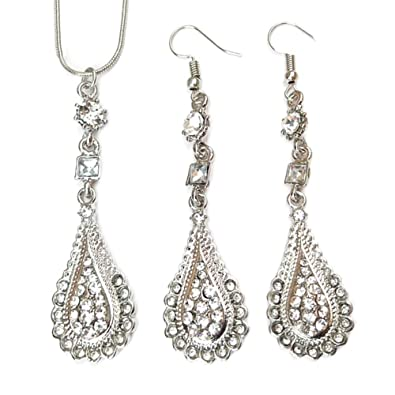 Buy Hot Sale-Women Fashion Jewelry Set Rhinestone Waterdrop Pendant  Necklaces Hook Earrings Online at Low Prices in India  4eb850f8b