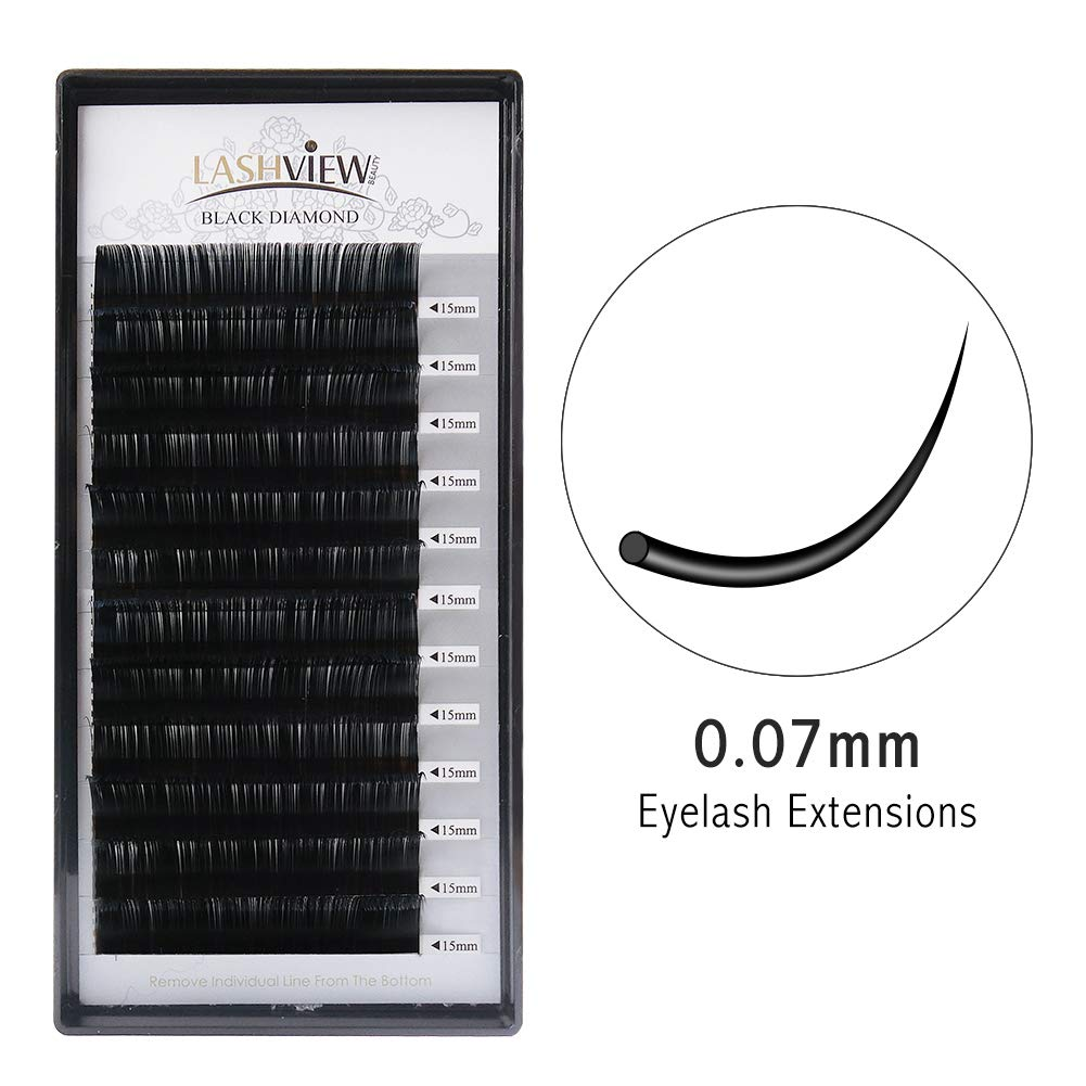 db5dc4135b7 LASHVIEW 0.07 Thickness Handmade Soft False Eyelashes D curl 15mm Silk Mink  Eyelash Extension Premium Volume