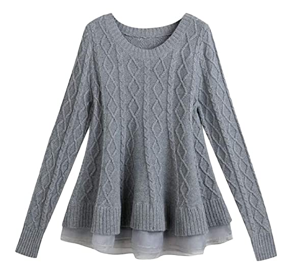 Macondoo Women s Lace Hem Knit Pullover Long Sleeve Casual Crew Neck Jumper  Sweaters Gray One- baf43625b
