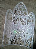 Cake Top Church Window, Beautiful Iridescent/White Glitter Finish. Purchase is 4 pieces.