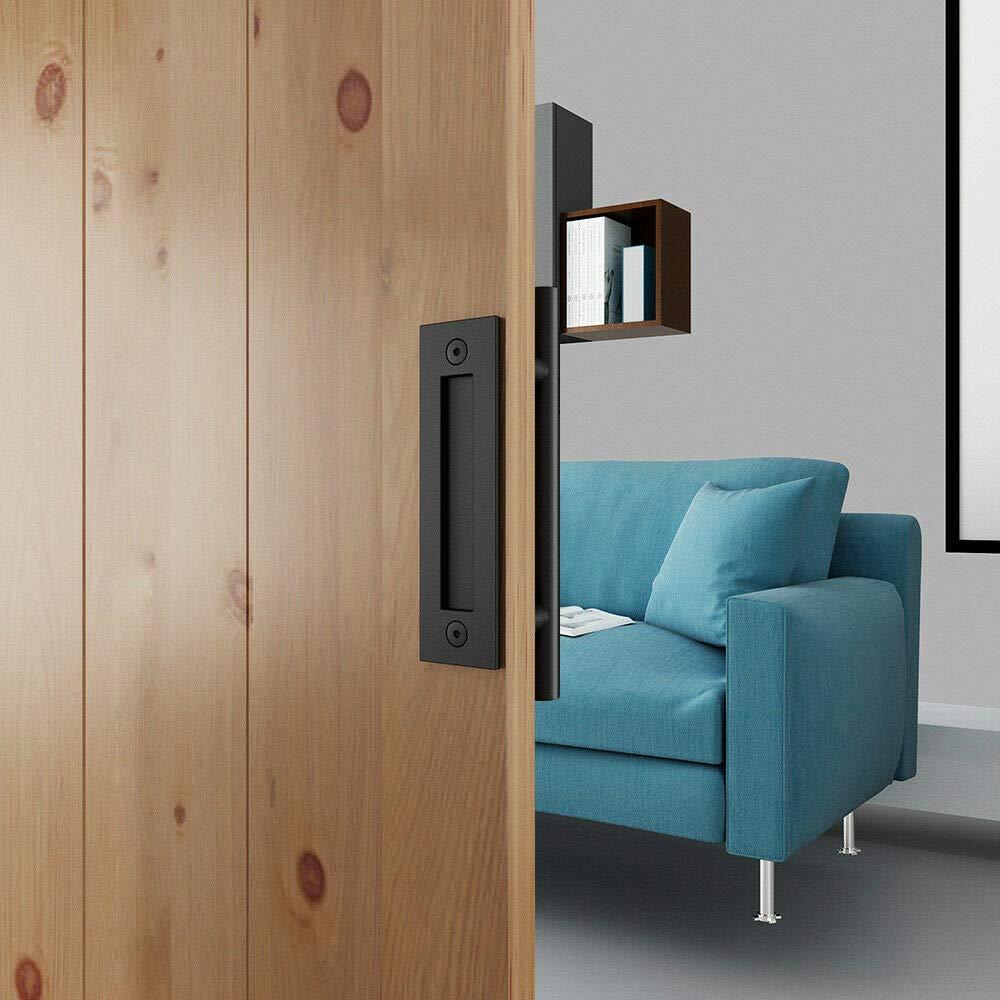 11-13//16in Matte Black Pull and Flush Handle Set for Sliding Barn Door Hardware TY