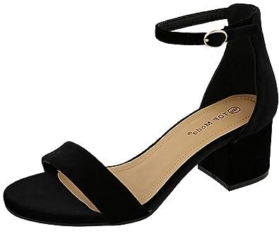 02d10bf732 TOP Moda Women's Strappy Velvet Stacked Block Heel Dress Sandal (6 B(M)