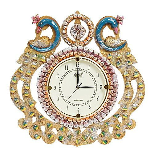 999Store wooden royal antique vintage look indian art rajasthani art large big hand made 2 peacock hand crafted antique decorative designer wall clock