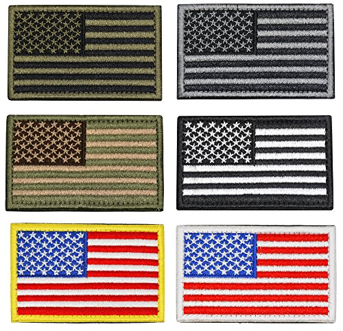 USA American Flag Military Tactical Morale Patch Hook Loop Backing 6 Colors