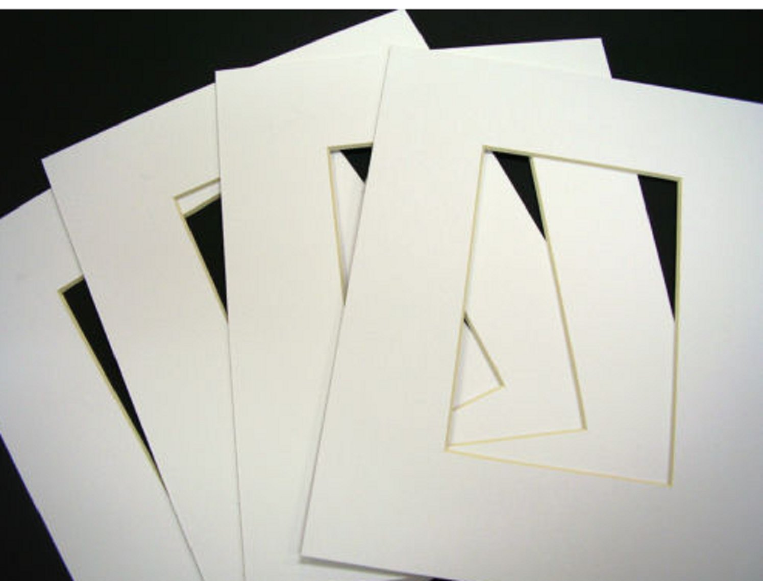 USA Premium Store Picture Framing Mats 8x10 for 4x6 photo White rectangle opening pack of 50