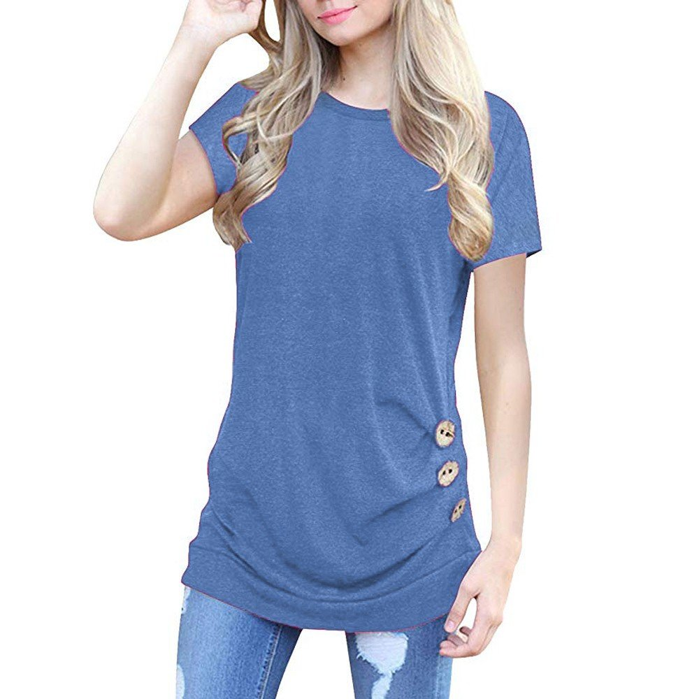 TWGONE Tunic Tops For Leggings For Women Short Sleeve Loose Button Trim Blouse Solid Color Round Neck T-Shirt(XX-Large,Blue)