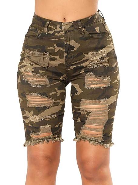 Amazon.com: Chimikeey - Pantalones cortos de mezclilla para ...