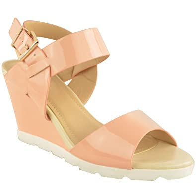 2100932e171 Ladies Womens Summer Wedge Sandals Pastel PATENTS Low Heel Open TOEE  Slingback Size