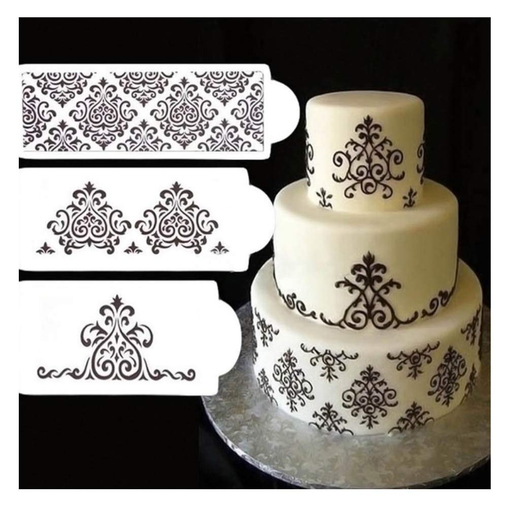 Cake Stencils, DIY Cookie Practical Lace Flower Cake Cookie Fondant Side Baking Stencil Wedding Decorating Tool,5Pcs