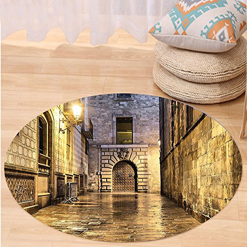 VROSELV Custom carpetGothic Decor Collection Dark Stone Ancient Street in Spain European Horror Dark Evil Renaissance Medieval Art Photo Bedroom Living Room Dorm Beige Round 72 inches by VROSELV