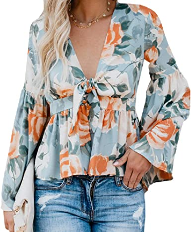 Womens Long Sleeve V Neck Frill Tops Asymmetric Ruffle Plunge Party Shirt Blouse