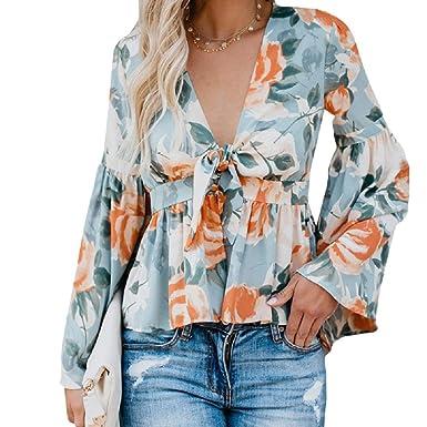 4ef58ded6d0617 Bbalizko Womens Floral Print Tunic Blouse Deep V Neck Chiffon Puff Sleeve  Ruffle Hem Tops at Amazon Women's Clothing store: