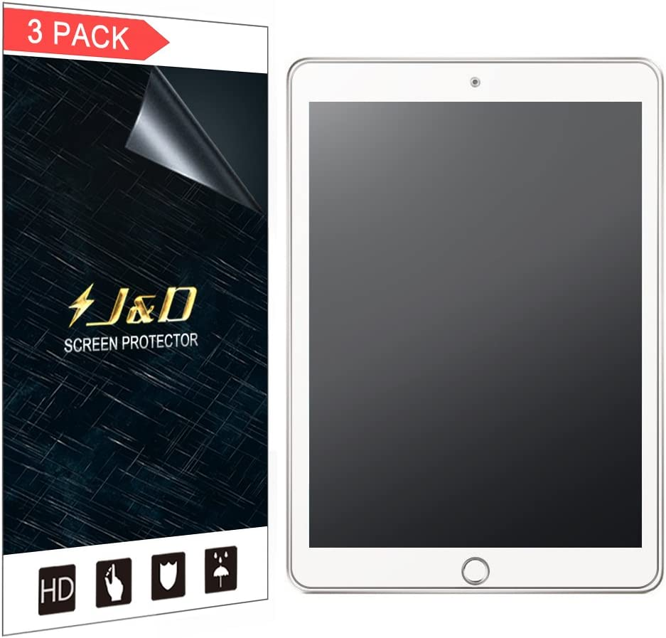 J&D Compatible for New iPad 9.7 inch 2017 Screen Protector (3-Pack), Not Full Coverage, Anti-Glare Matte Film Shield Screen Protector for New iPad 9.7 iPad Pro 9.7 iPad Air iPad Air 2 Protective Film