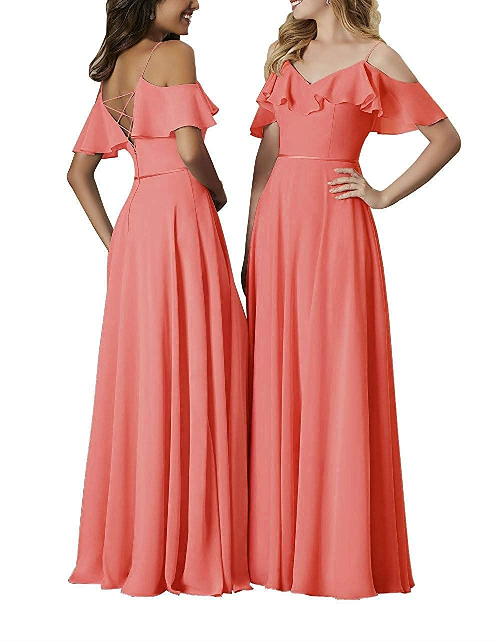 Coral Staypretty Bridesmaid Dresses Long Off The Shoulder Simple Formal Gowns for Women