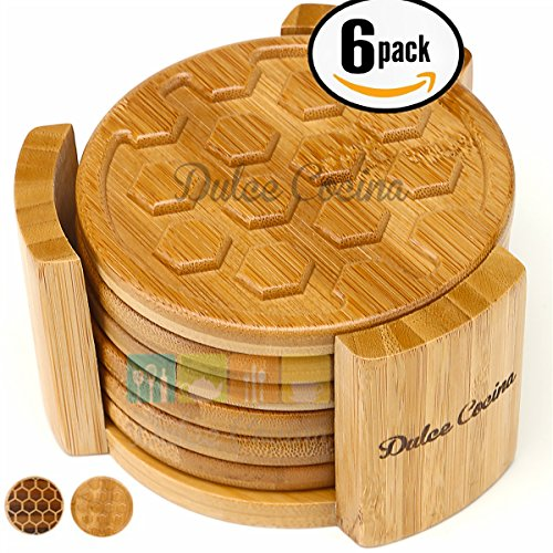 Dulce Cocina Coasters 6 Pack Bamboo In Elegant Holder - Grooved Design & Deep Tray Trapping Condensation To Protect Furniture - 4.3 Inch XLarge, Gentle to All Surface Types