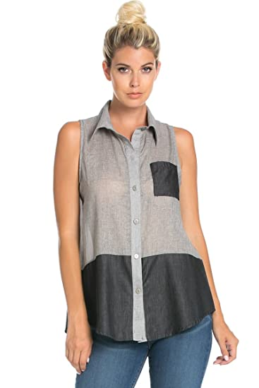 1b32dd2e37cee Women s Sleeveless Color Block Button Down Shirt Tops at Amazon ...