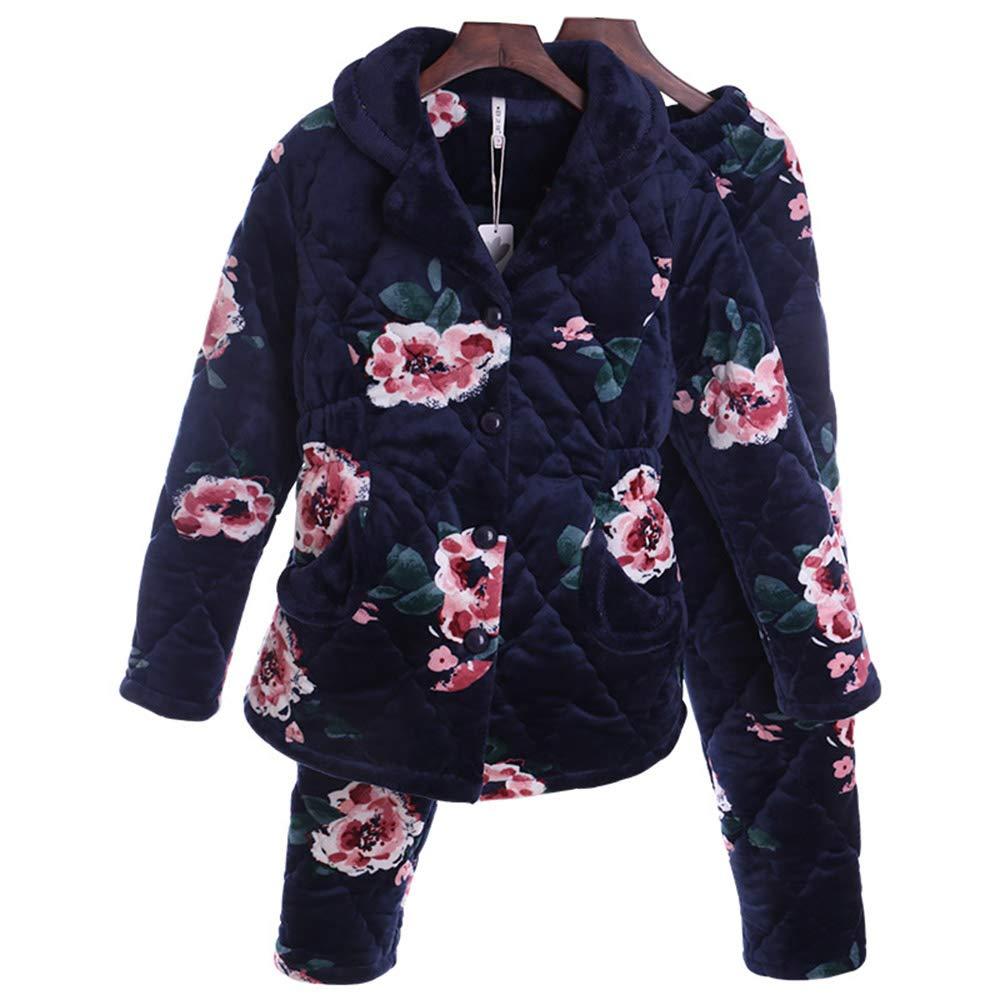ZZHF shuiyi Pijamas, Estampado Femenino Cómodo Invierno Espesar Pijamas Acolchados Gran tamaño Sencillo Cómodo Femenino Mantener el hogar cálido Conjunto de Ropa Suave y Agradable para la Piel Ropa Casual, 2 Colores e17935