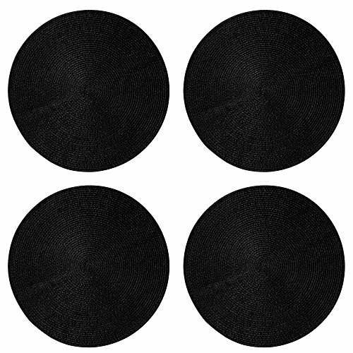 Tag 15-Inch Braided Placemat 4-Pack, Black